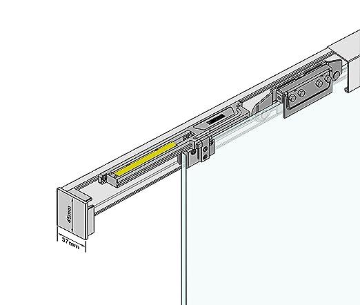 BP1-1025-420-ASE Siebdruck; Alu Schienensystem SlimLine SoftClose; Griffstange rund 420 Schiebet/ürsystem ESG 1025x2050x8mm P1