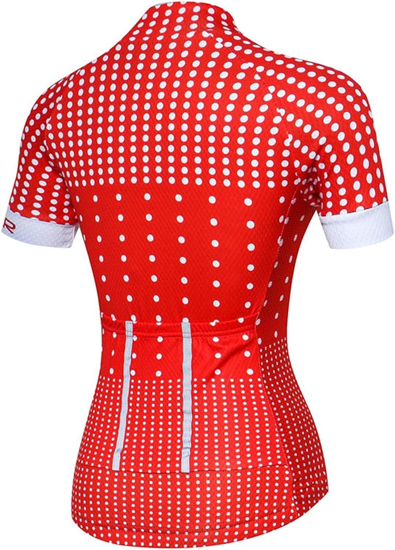 PSPORT Womens Cycling Jersey Short Sleeve Bike Shirts Reflective