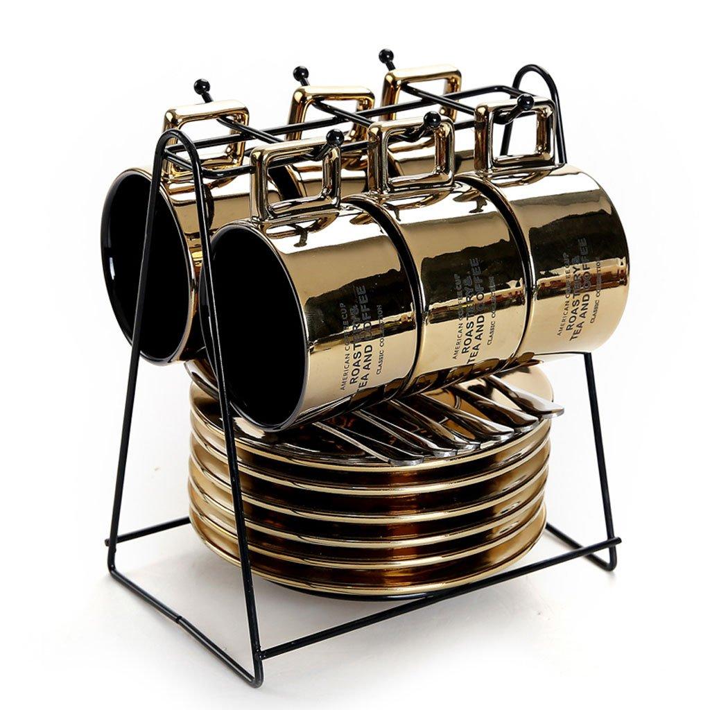 YILIAN kafeiyongpin Set de Espresso Italiano Set de té casero de cerámica 6 Tazas 6 Platos 6 cucharas con portavasos (Color : A): Amazon.es: Hogar