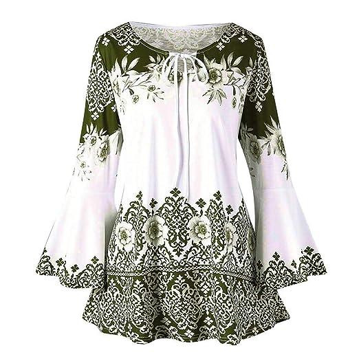ab33a72798522 Amazon.com: Christmas Womens Plus Size Flare Sleeve Tops Autumn Full ...