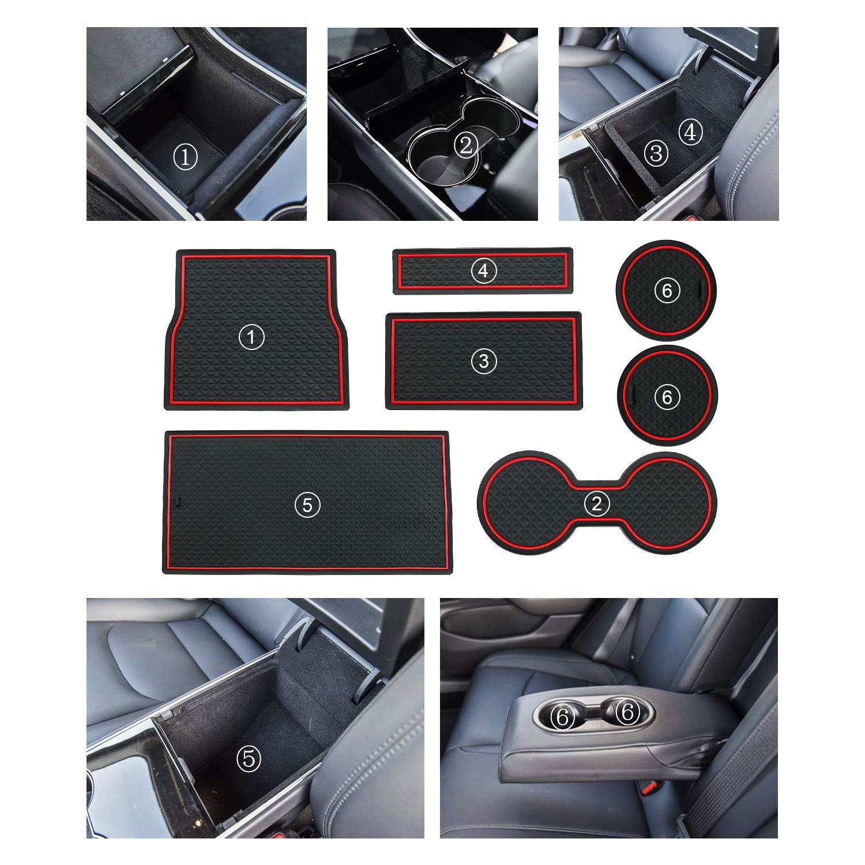 R RUIYA Tesla Model 3 Cup Holder Liner Accessories Center Console Mats Anti-dust Non-Slip Interior DoorArm Box Storage Mat Pad Blue