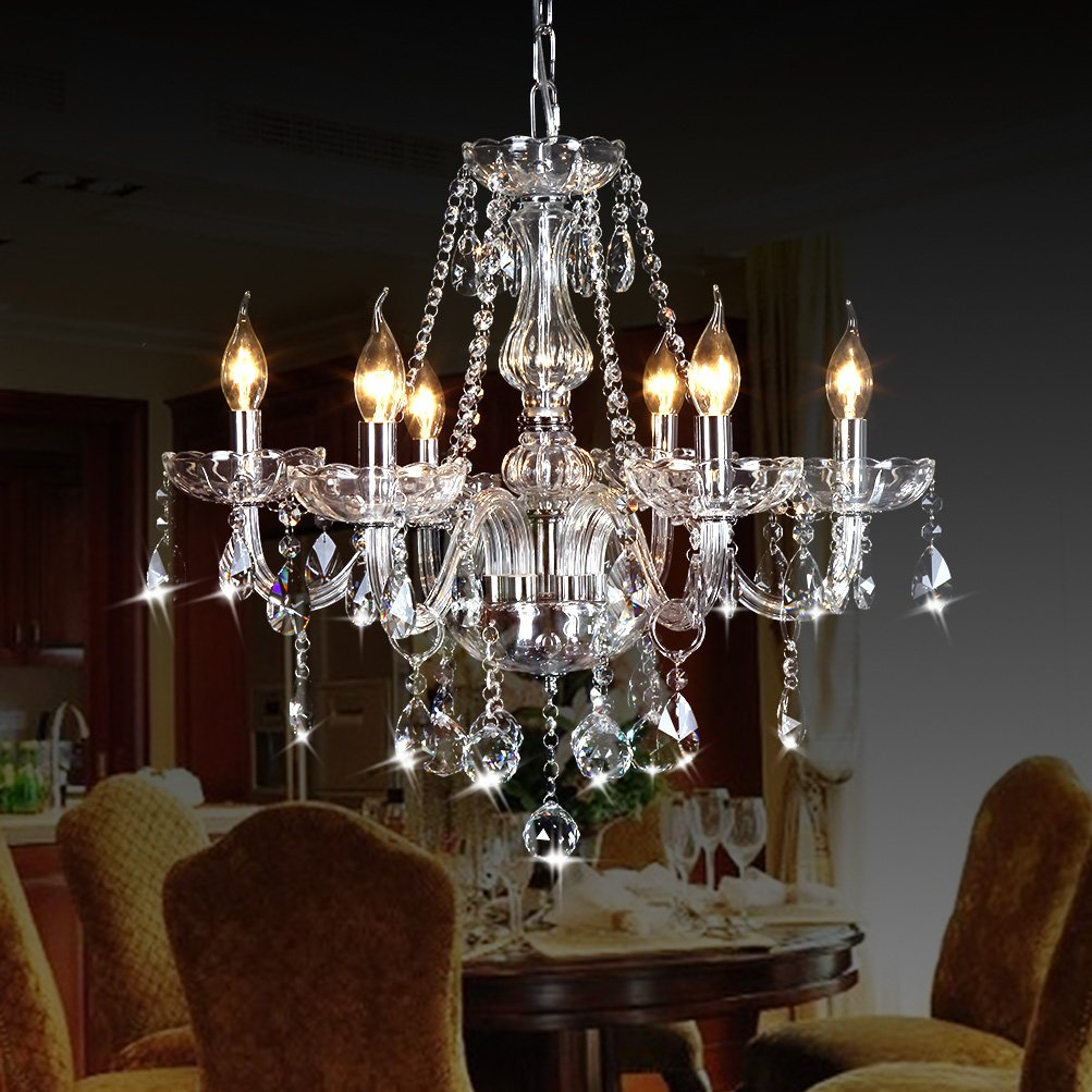 Amazon CRYSTOP Classic Vintage Crystal Candle Chandeliers Lighting 6 Lights Pendant Ceiling Fixture Lamp For Elegant Decoration D236 X L472 Home