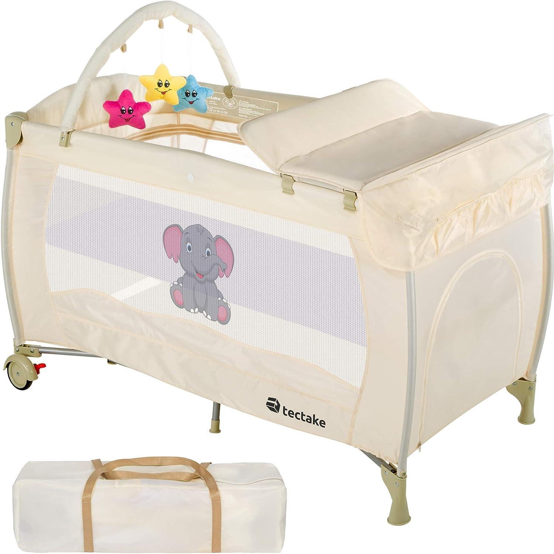 TecTake Cuna infantil de viaje portátil altura ajustable con acolchado para bebé - disponible en diferentes colores - (Beige | No. 402204): Amazon.es: Oficina y papelería