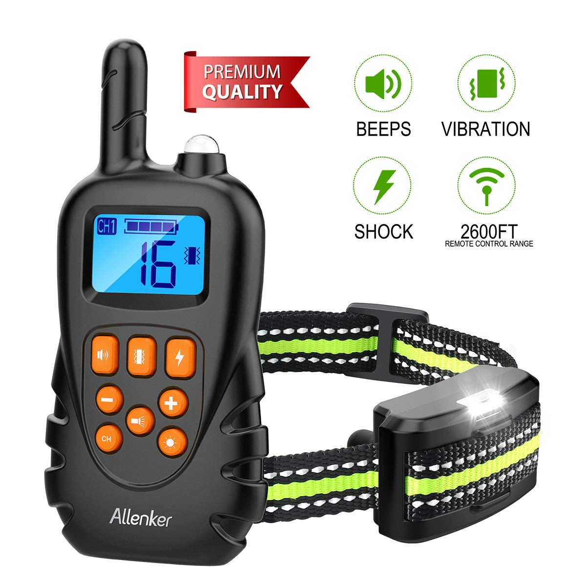 Allenker Shock Collar for Dogs, Dog Shock Collar with Remote Up To 2600Ft Range 100% Waterproof With Beep Vibration Static Shock - 0~16 Levels Adjustable Dog Training Collar with Remote by Allenker