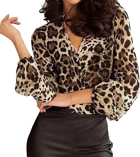 WDFSER Camiseta De Manga Larga con Estampado De Leopardo para Mujer Tops Blusa Holgada Camisa Blusa para Mujer: Amazon.es: Deportes y aire libre