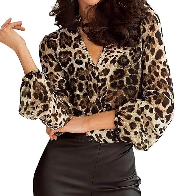 2c5debf20006f6 Womens Long Sleeve Pullover Tops Ladies V Neck Leopard Print Casual Loose  Chiffon Blouse Shirt: Amazon.co.uk: Clothing