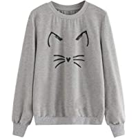 ROMWE Women's Cat Print Sweatshirt Long Sleeve Loose Pullover Shirt