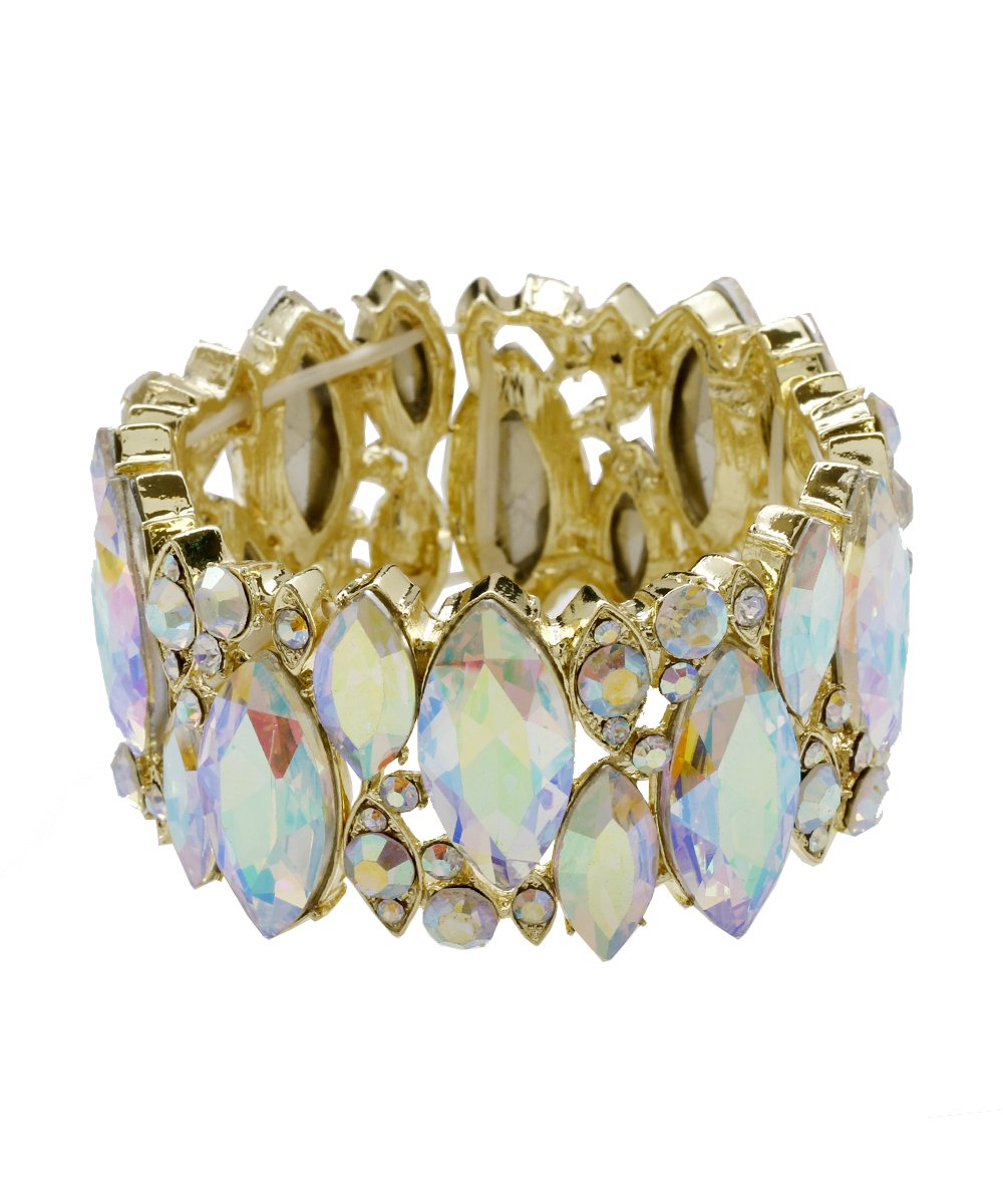 DK FASHION Aurora Borealis Crystal Stretch Bracelet - One Size Fits Most for Prom, Bridesmaids, and Weddings (Gold/AB)