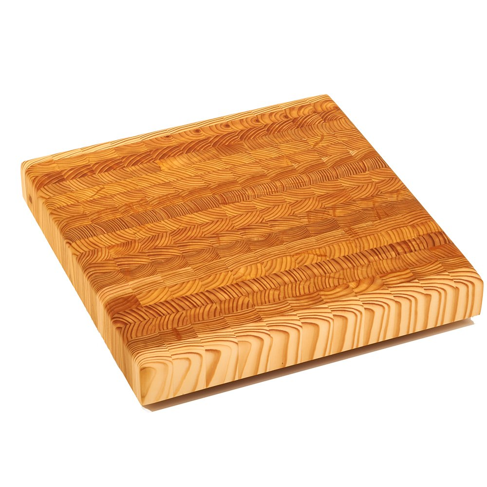 Larch Wood Canada End Grain Square Cutting Board, Handcrafted for Professional Chefs & Home Cooking, 14'' x 14'' x 2'' plus Larch Wood Beeswax and Mineral Oil Conditioner (1.6 oz/ 45g)