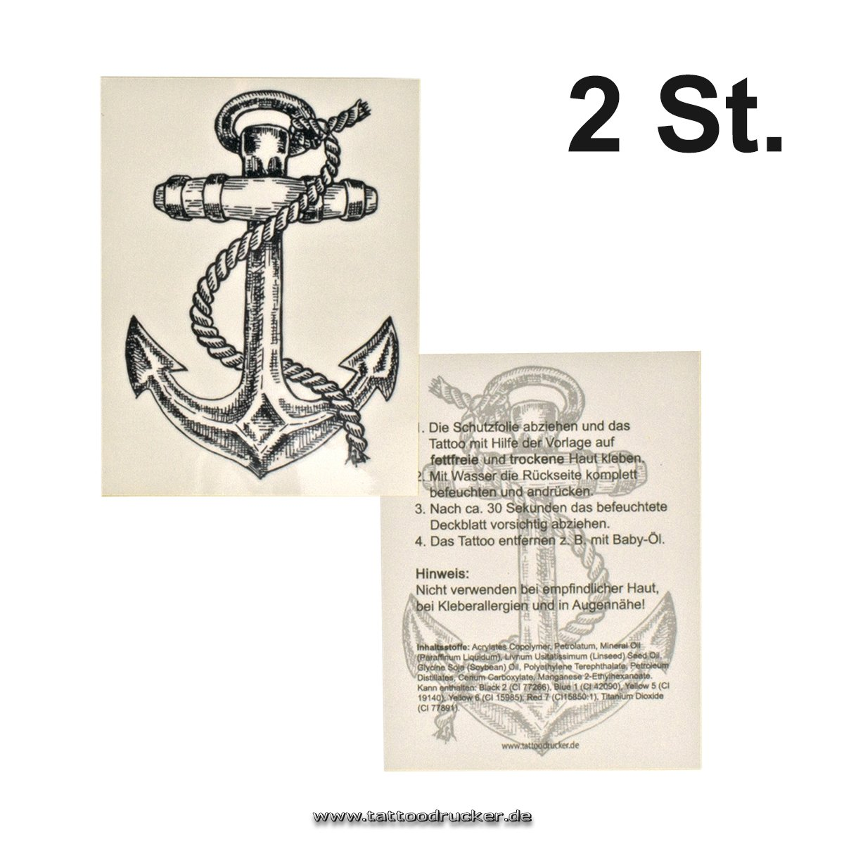 2 x XL Anchor Tattoo motif - Marine Anchor temporary Tattoo - nautic ...