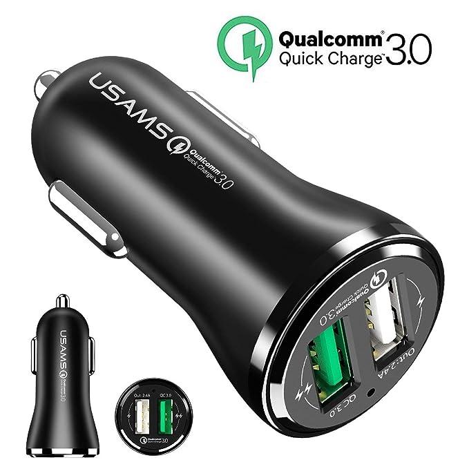 Cargador de Coche, USAMS Quick Charge 3.0 3A+2.4A Dual USB ...