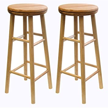 2 Set of 2 Counter Stools Wood Winsome Manchester 24 in