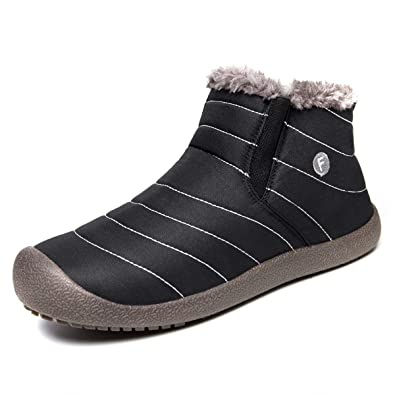 Men's Shoes New Fashion Men Winter Shoes Solid Color Snow Boots Plush Inside Antiskid Bottom Keep Warm Boots Size 41-47 Black Brown Grey