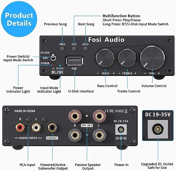 Baoblaze Selector de Altavoces Amplificador de Tubo de Vac/ío Est/éreo PreAmp Digital con Control de Volumen