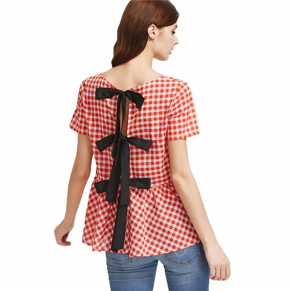 29af77a4bf753 New Womens Cotton Blouses Top Women Summer Red Short Sleeve Contrast Split  Tie Back Checkered Peplum Top - Red - Small  Amazon.co.uk  Clothing