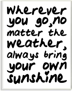 Stupell Industries Where Ever You Go Black and White Typography Wall Plaque, 10 x 15, Multi-Color