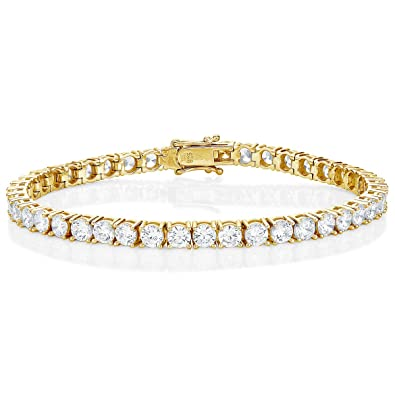 83ef28aab7e8be Diamond Treats Gold Tennis Bracelet for Women, Yellow Gold Plated 925  STERLING SILVER with 4mm Sparkling White Cubic Zirconia. This Ladies  Eternity Bracelet ...