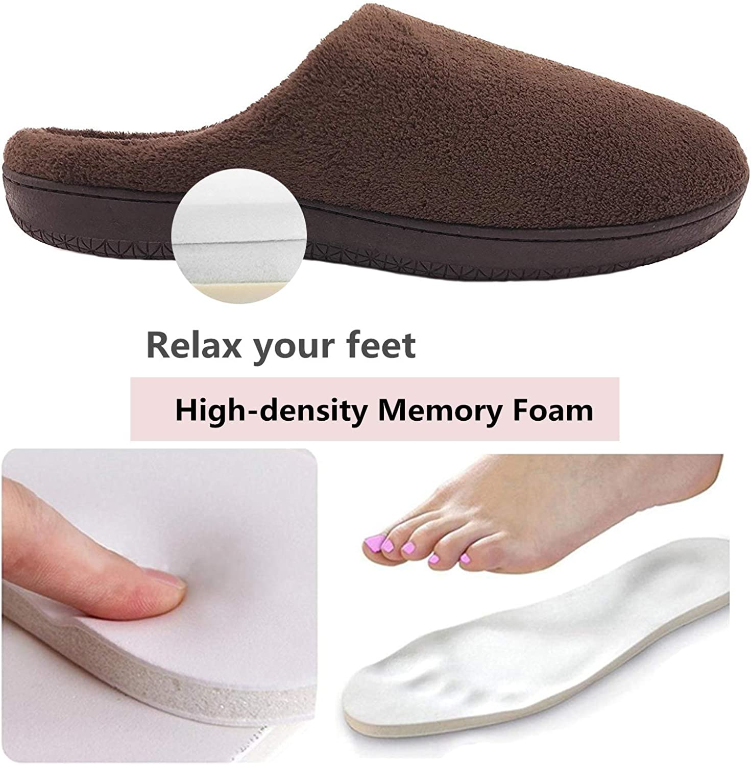 SMajong Mens Womens House Slippers with Arch Support Slip On Outdoor Indoor Slippers Memory Foam
