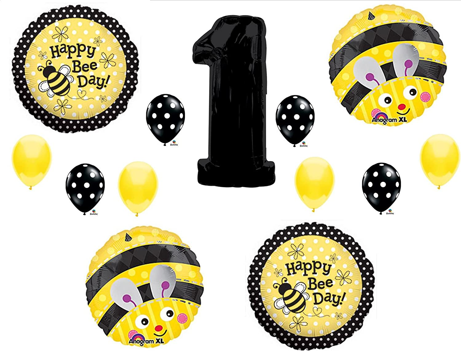 Sweet as can Bee Happy Bee-Day Party Bumblebee Bee Happy 11\u201d Latex Balloons Set of 6