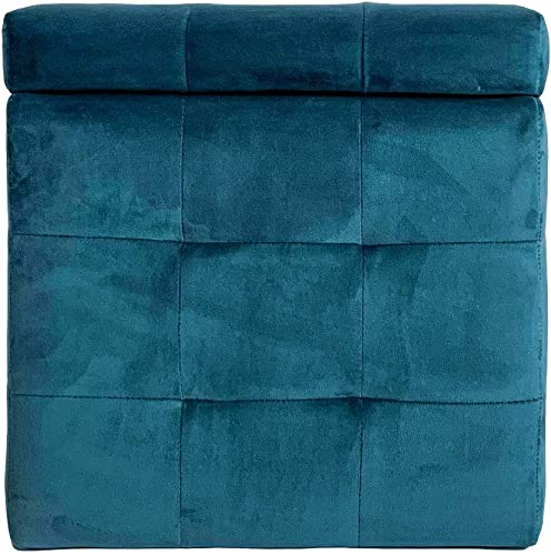 Comfort More Storage Ottoman Footstool and seat Tube Blue