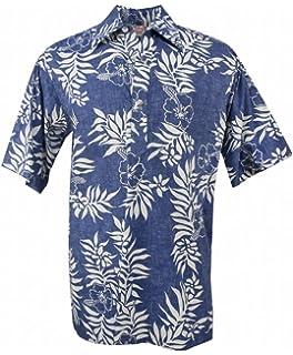6bf551037 Go Barefoot Mini Tahitian - Men's Hawaiian Reversed Print Pullover Aloha  Shirt - in Blue-