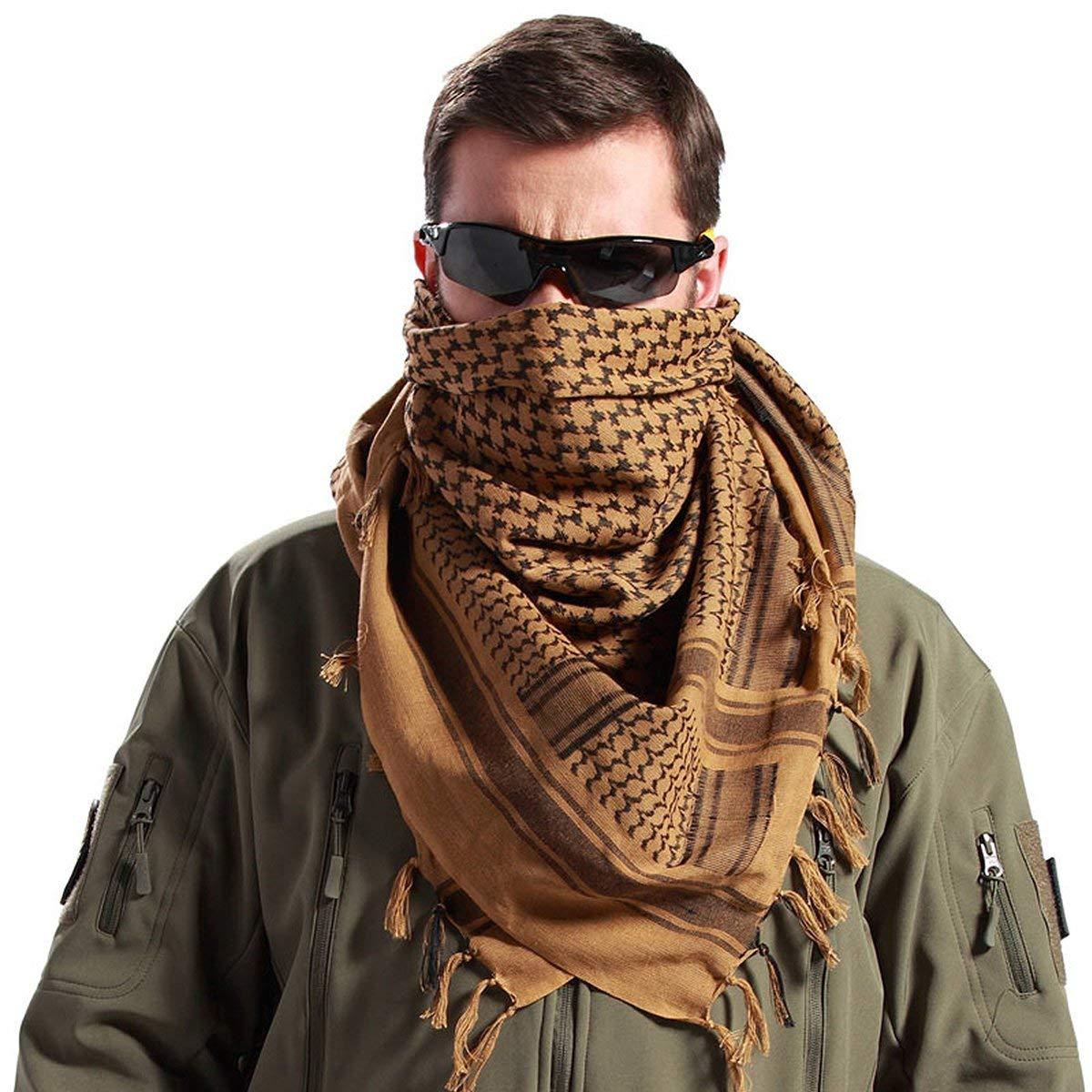 FREE SOLDIER 100/% Baumwolle Milit/är Schal 110cm x 110cm Tactical Desert Shemagh Pal/ästinensertuch-Schal Wrap F/ür M/änner /& Frauen