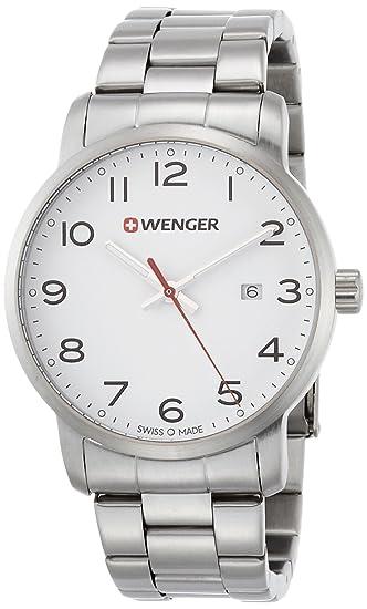 WENGER Reloj Analogico para Unisex de Cuarzo con Correa en Acero Inoxidable 01.1641.104: Amazon.es: Relojes