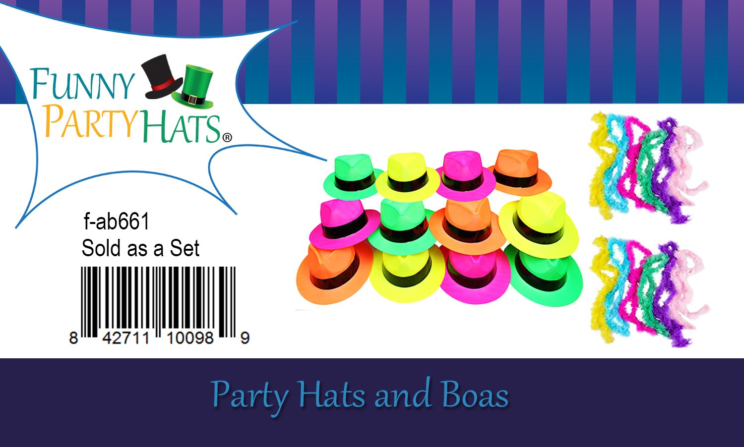 Neon Party Supplies - 80's Style, Neon Gangster Hats, Fedora Party Hats W/Neon Mini Boas - Party Dress Up by Funny Party Hats (Fedora Hats with Mini Boas) by Funny Party Hats