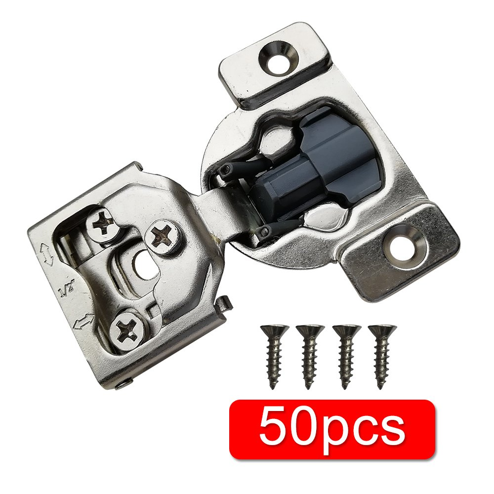 """Boshen Cabinet Cupboard Concealed Inset Hinges for Doors Overlay Self Closing Hinges Face Frame hinge 1/2 Soft Close 2 20 50 Pack with Screw (1/2"""" With Damper(50PCS))"""