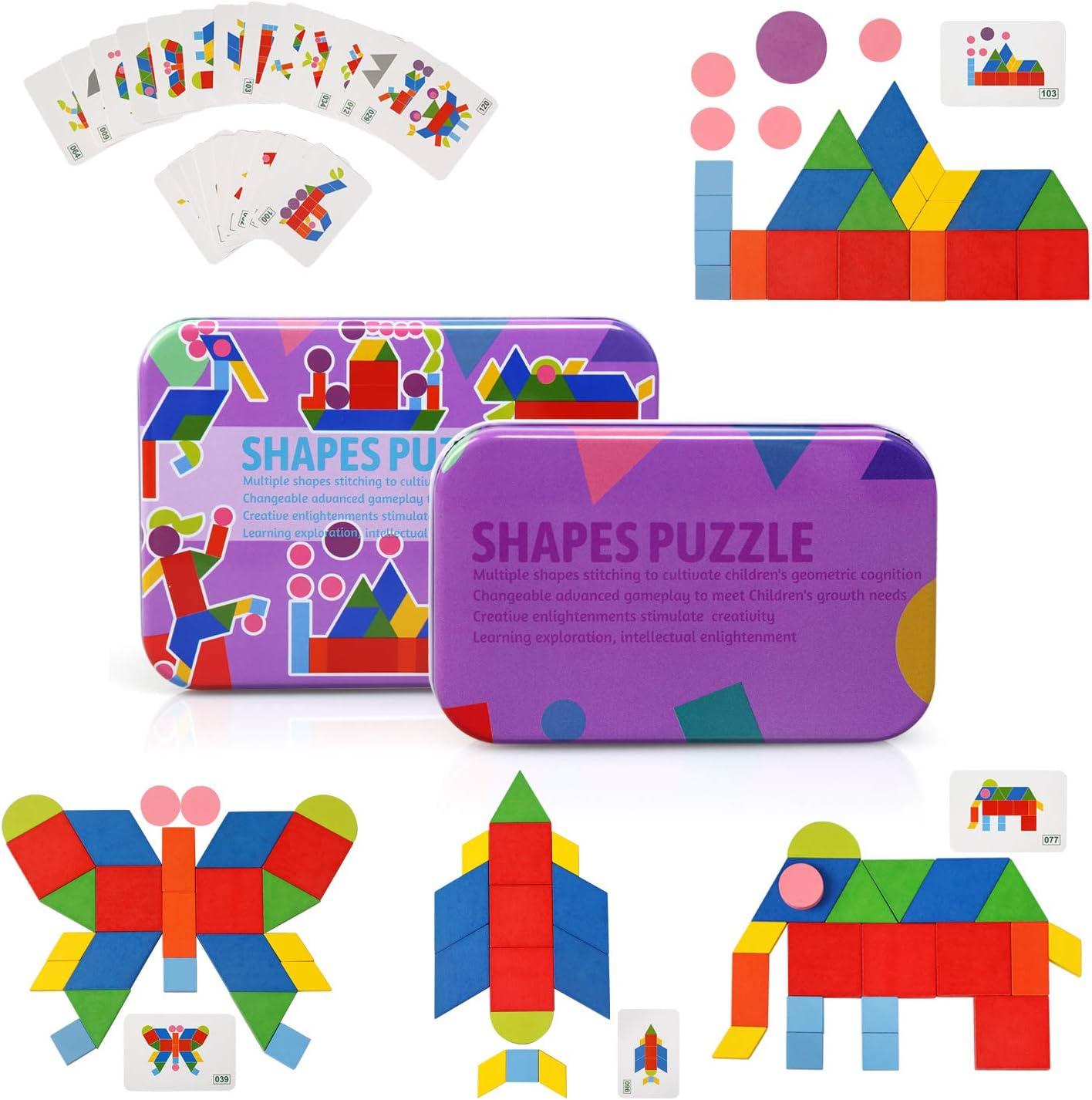Ballery Tangrams Puzzles, Rompecabezas de Madera Bloques Shape Puzzle Set Animal Preescolar Montessori Juegos y Juguetes para Niños(34 Bloques de Madera + 60 Piezas Tarjetas de diseño)