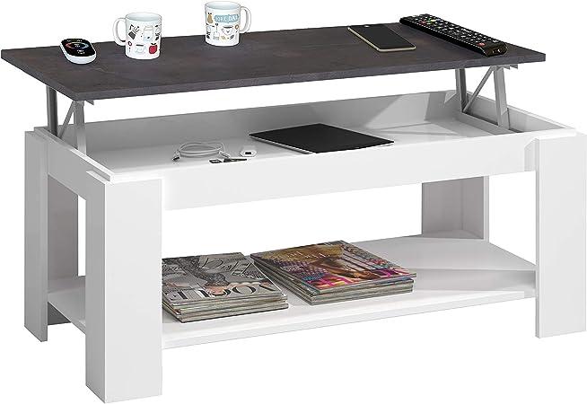 Habitdesign 0X1639A - Mesa Centro con revistero, Mesa elevable, mesita Mueble Salon Comedor Acabado en Blanco Artik y Oxido, Medidas: 102 cm (Largo) x 43/54 cm (Alto) x 50 cm (Fondo): Amazon.es: