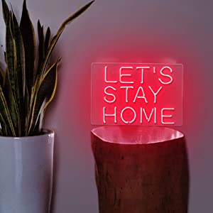 Neon Signs Let's Stay Home Real Glass Handmade 13