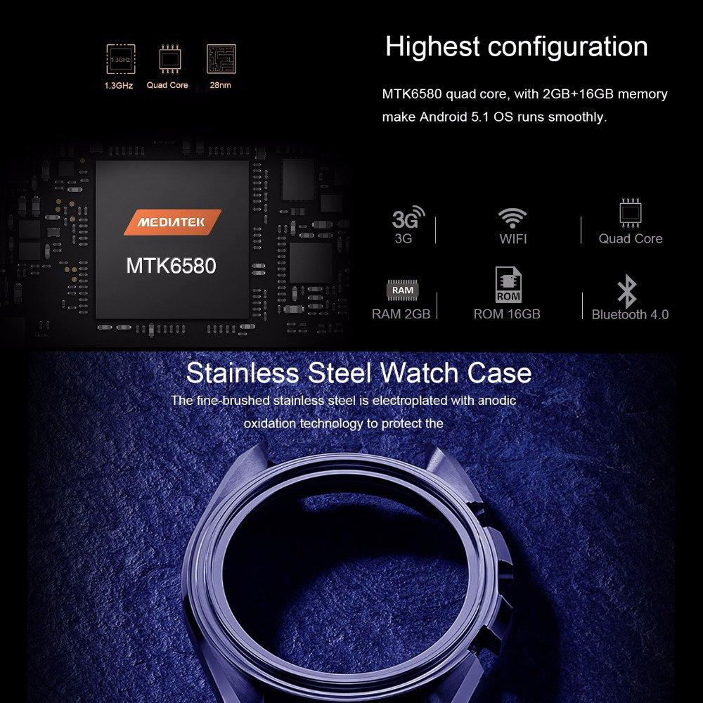 LEMFO lem5 Pro Smartwatch Android 5.1 Quad Core 1.3 GHz 2 GB ...