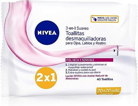NIVEA Toallitas Desmaquilladoras Suaves (1 x 40 ud), toallitas ...