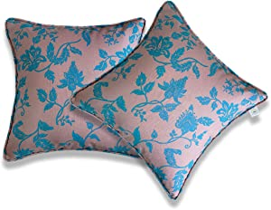 Vanteriam 2 Pack Indoor Outdoor Waterproof Throw Pillow Cover ONLY, Decorative Square Outdoor Pillow case with Piping for Patio Furniture Set, 18''x18'' MH-Y201 Misty Rose