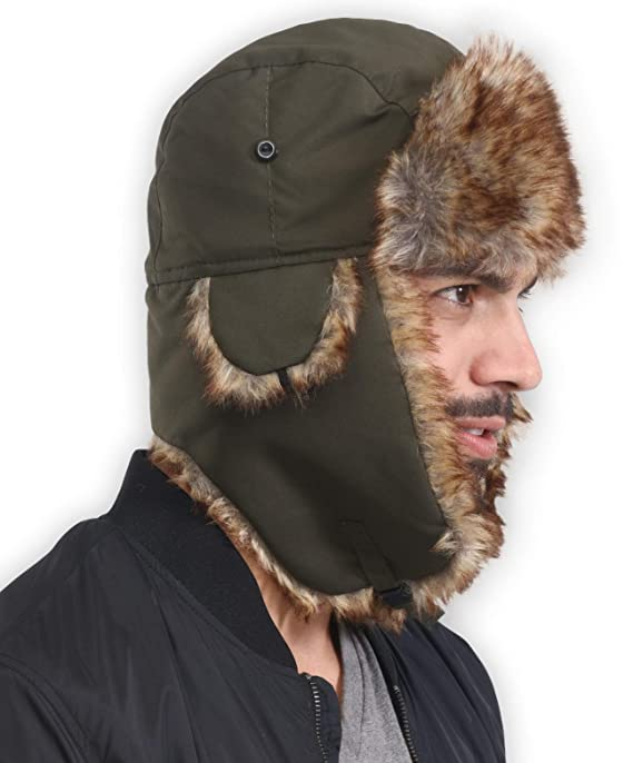 31715b5a1fb7b7 Amazon.com: Trapper Hat - Winter Trooper Ushanka with Faux Fur & Ear Flaps  - Russian Aviator Snow Hat for Hunting, Skiing & Cold Weather Activities ...