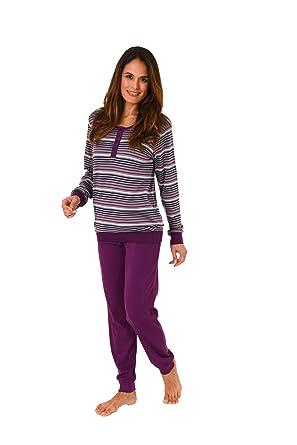 f2f562d1c2 Normann Copenhagen Schöner Damen Pyjama lang mit Bündchen in Kuschel- Interlock-Qualität 271 201 96 120: Amazon.de: Bekleidung