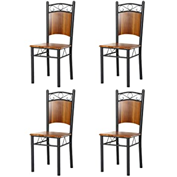 Marvelous Homdox Dining Chairs Bistro Chairs Café Chairs Back Hardwood Metal  Restaurant Chairs, Brown (set