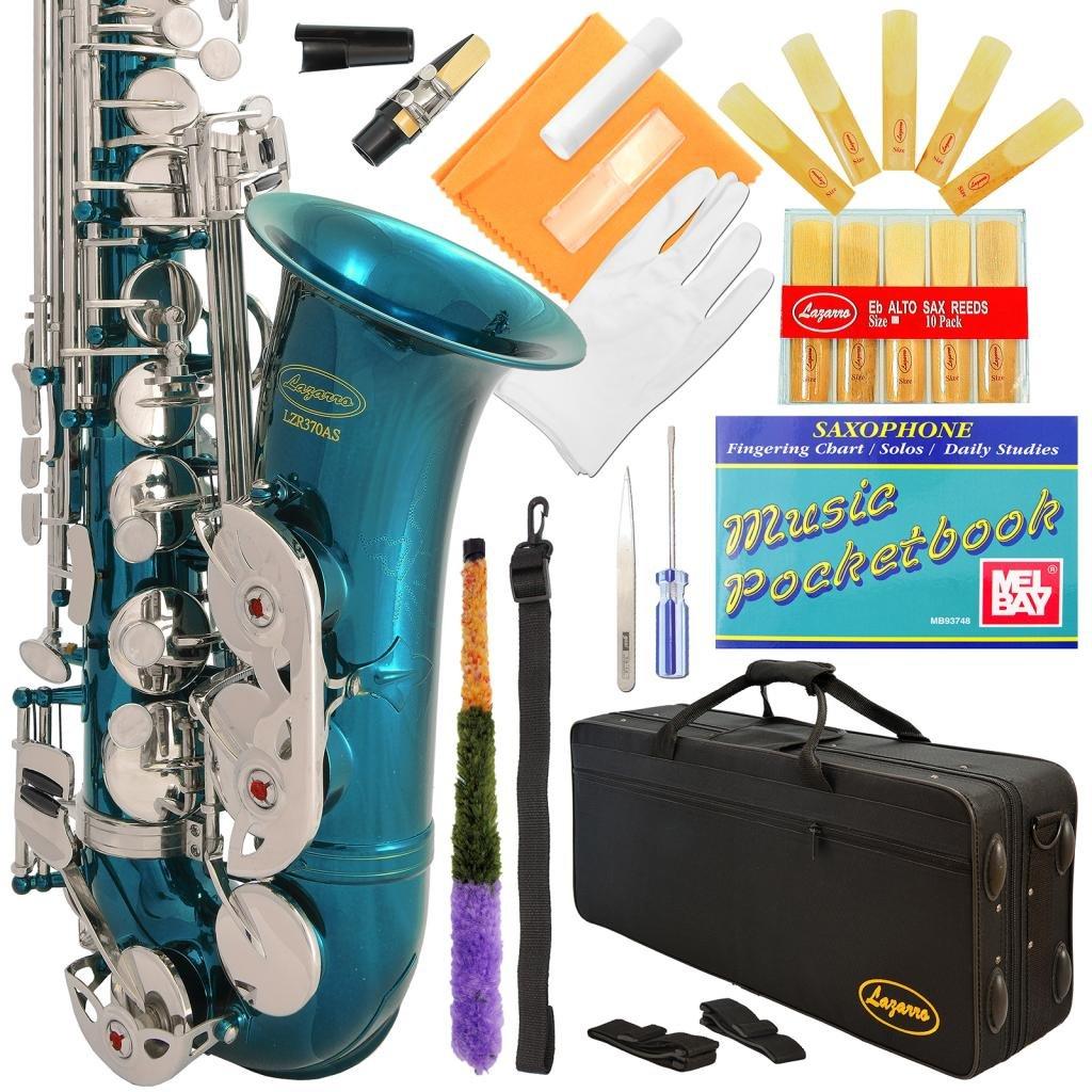 Lazarro 370-SB E-Flat Eb Alto Saxophone Sea Blue-Silver Keys with Case, 11 Reeds, Care Kit and Many Extras by Lazarro