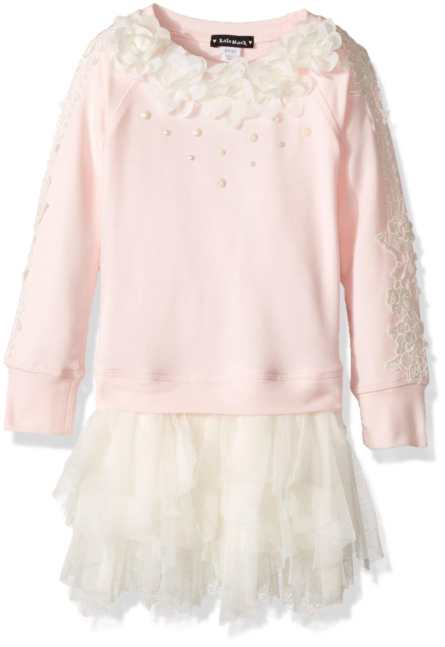 Kate Mack Girls' Toddler Gateau Rose Sweatshirt Knit Dress with Netting Skirt, Pink 2T