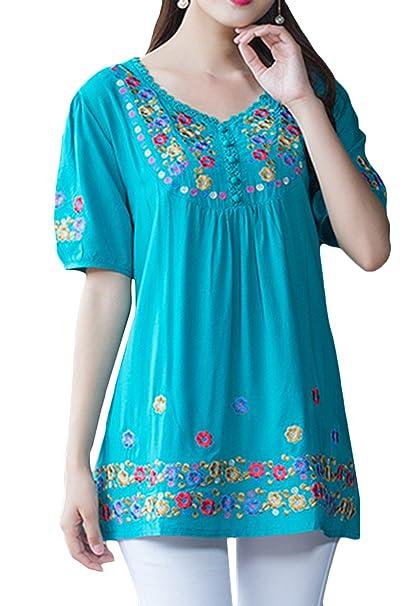Amazon.com: Asher Fashion blusa estilo bohemio bordada para ...