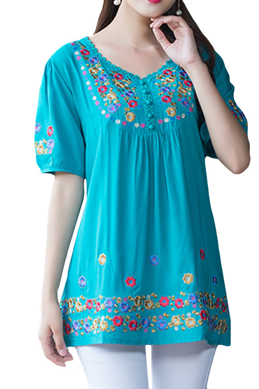 AsherFashion Asher Fashion Girls Embroidered Peasant Tops Bohemian Blouses Tunic (XX-Large, Blue)
