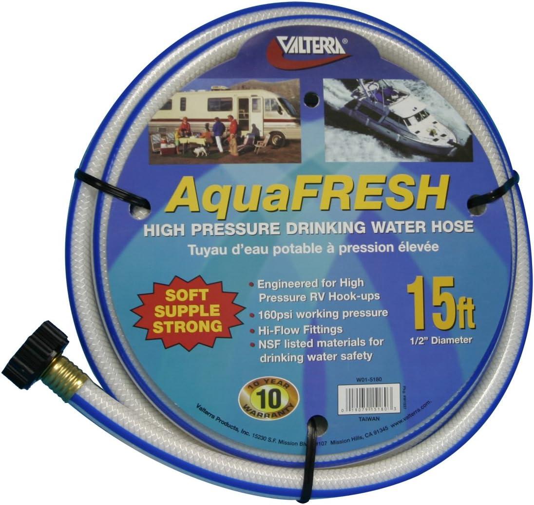 "Valterra AquaFresh High Pressure Drinking Water Hose, Water Hose Hookup for RV - 1/2"" x 15', White"