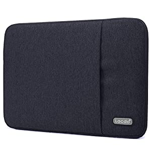 """Lacdo 13 Inch Waterproof Fabric Laptop Sleeve Case Compatible Old MacBook Air 13"""" / MacBook Pro 13.3-Inch Retina 2012-2015/12.9 ipad Pro, HP Asus Dell Acer Chromebook Ultrabook Notebook Bag, Black"""