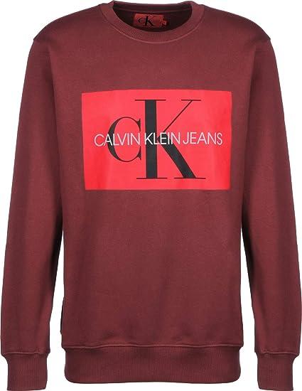 cfd131c8 Calvin Klein Jeans Monogram Box Logo Sweater Tawny Port: Amazon.co.uk:  Clothing