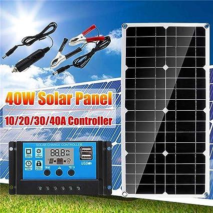 Juman634 Cargador Solar Power Bank Dual USB 40W con 10/20/30 ...