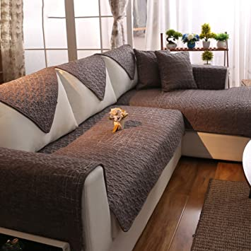 AMYSTOREDREAM Engrosamiento algodón Tela sofá Toalla Cubre Sofa slipcover esteras para 1 2 3 4 Cojines en Cubierta de Sala Completa-A ...