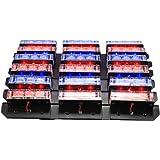 XKTTSUEERCRR 54x LED Ultra Bright Emergency Service Vehicle Dash Deck Grill Warning Flashing Strobe Light (Red & Blue)