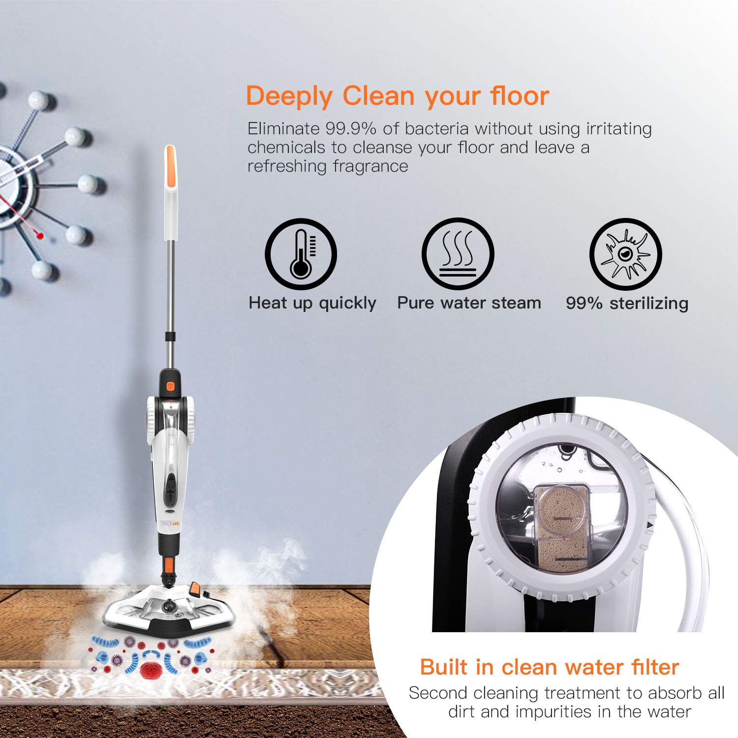 TACKLIFE Steam Mop, Steam Cleaner Multifunction Floor Steamer and Hand-held Steam Floor Mop 2 in 1, 1400W Portable Electric Scrubber Heating in 5s, with 11 Accessories by TACKLIFE (Image #4)