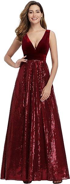 Ever-Pretty Abendkleider Damen Elegant Rundkragen Lange /Ärmel A-Linie mit Pailletten T/üll Bodenlang Brautkleider 00314